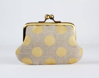 Metal frame purse with two sections - Golden dots on linen - Siamese daddy / gray beige / metallic gold / neutral colors
