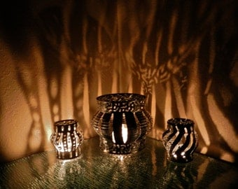 Boho Chic Shadow Lamps, Luminary Lantern, Gypsy Series Candle Cover
