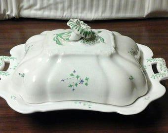 Staffordshire Sprig Porcelain Covered Platter