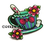 Tattoo Style Teacup Brooch by Dolly Cool with tea spoon, flowers and sugar lumps