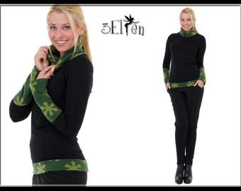 Sweater Fleece Print Flower green Flower