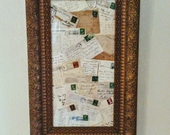 Vintage Postcard Collage in Gilded Gesso and Wood Frame
