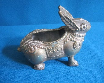 Vintage Little Cast Metal Miniature Figural Rabbit Ashtray