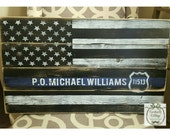 Police Officer Sign, Police Officer Retirement Gift, Personalized Gift, Thin Blue Line Flag, Personalized Sign Custom Wood Signs Custom Gift