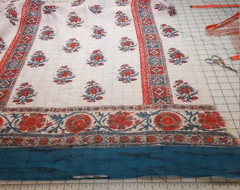 Sheer Gauze Cotton border print possibly India cotton? BTY