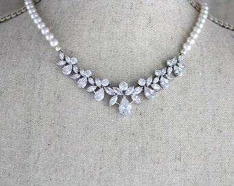 Pearl Wedding necklace, Wedding jewelry, Crystal Bridal necklace, Swarovski necklace, Rose gold necklace, Bridesmaids jewelry Pearl necklace