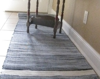 "Long denim runner rag rug 25"" x 123"""