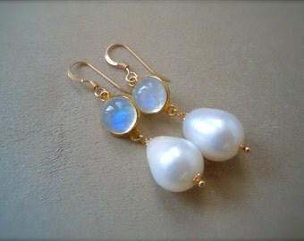Rainbow Moonstone and Baroque Pearl Drop Earrings