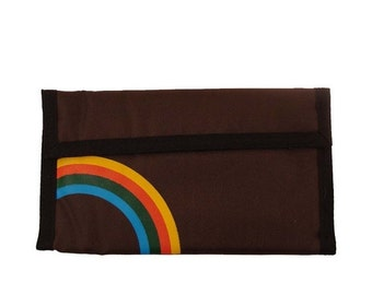 Velcro Checkbook Wallet Vintage 1980s Rainbow Brown