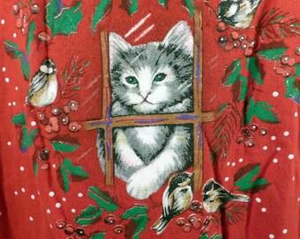 Ugly Christmas Sweater Vintage Sweatshirt Kitty Cats Xmas Tacky Holiday