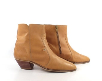 Playboy Boots Ankle Vintage 1970s  Short Tan Brown Leather Euro Beatle Men's size 8 1/2