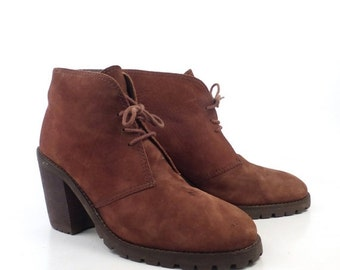 Riverstone Granny Boots Vintage 1990s High Heel Lace Up Brown Leather Ankle Boots Women's size 9 B