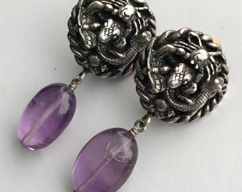 UNUSUAL Vintage  Silver dangle Earrings  . Lizard . Snake . Spider . Amethyst Jewelry
