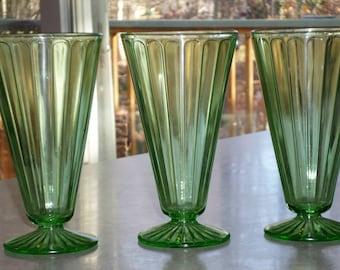 3 Hazel Atlas Glass Ribbon footed Tumbler Glasses uranium green Depression Glass