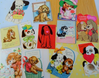 Long Earred Puppies in a Basket At the Piano in All Occasion Lot No 189 Total of 12 Birthday Valentines Get Well Dogs at their Best