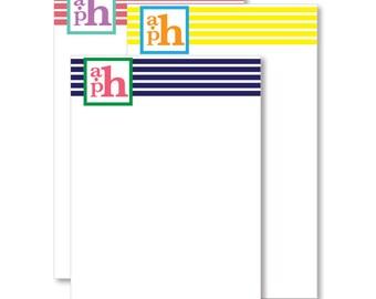 Monogrammed Notepad - Bold Stripes