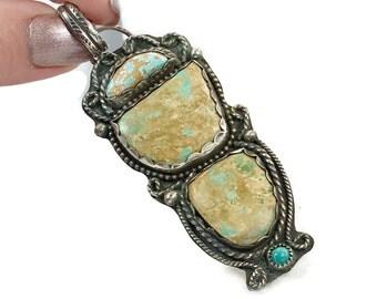 "Turquoise Pendant, Sterling Silver, Vintage Pendant, Amazonite, 3"" Long, Big, Massive, Large, Handcrafted, Long, Boho, Southwestern"