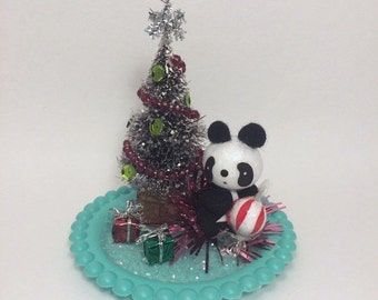 SALE Panda Party - Handmade Holiday Kitschmas Decoration Bottle Brush One of a Kind