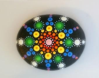 mandala stones-bohemian dot art-rainbow-painted rocks-unique ooak 3D art object-red yellow blue green-Zen chakra art-meditation-neon glow