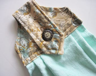 Hanging kitchen towel  button top  cotton  top maps  with turquoise  aqua  towel Quiltsy handmade