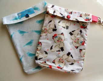 Cats & Birds Clear Front Pouches 2 Pack Medium 5x7 Cosmetic First Aid Baby Diaper Bag Purse Organizer Gift for Mom Teacher Best Friend