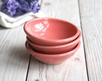 Prep Bowls Set of Three Ceramic Bubble Gum Pink Glazed Kitchen Prep Bowls - Pink Purple Small Bowls Ready to Ship USA