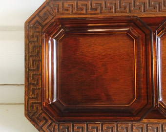 Vintage Mid Century Modern Faux Wood and Amber Serving Tray or Jewelry Organizer