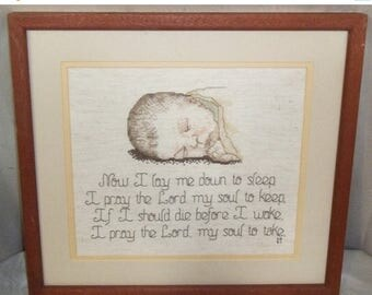 ON SALE Completed Cross Stitch Framed Bedtime Prayer Baby Newborn Now I Lay Me
