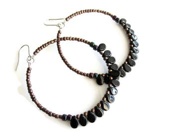Black and Brown Beaded Fringe Hoop Earrings