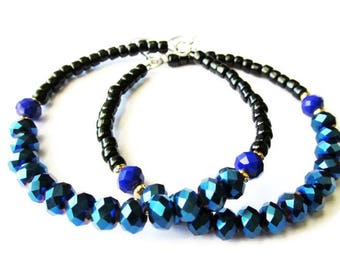 Electric Blue and Black Beaded Glass Hoop Earrings
