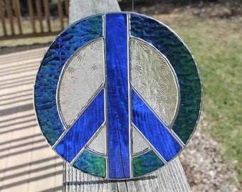 Blue and Green Stained Glass Peace Sign