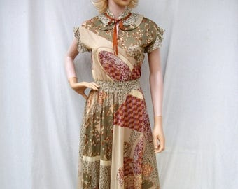 ON SALE 70s Sheer Floral Dress size Small Patty O'Neil Boho Gypsy Dress Peasant Dress