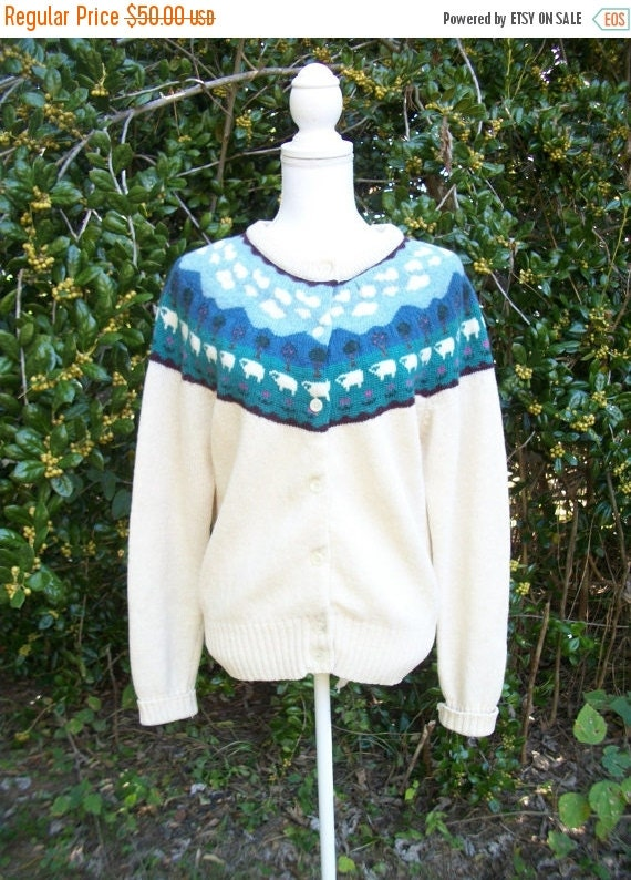 SALE 80s Woolrich Sweater size Small Medium Large Sheep Sweater Cardigan