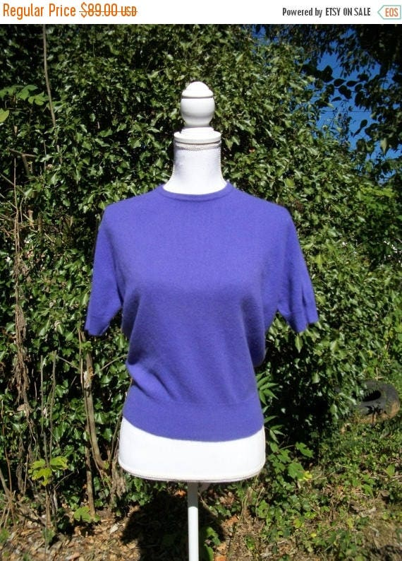 ON SALE 50s Purple Cashmere Sweater size Medium Large Peck and Peck Hadley Cashmere Bust 40