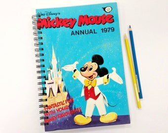 Mickey Mouse Annual 1979, Recycled Book Journal & Notebook