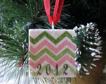 LuckySale Keepsake Christmas Ornament - Holiday Gift - Year Ornament - Red and Green Chevron - Ready to Ship