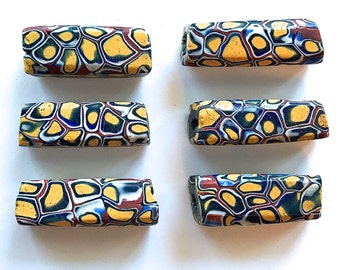 Collectible Matched Trade Beads, Venetian Rectangle Beads, African Bead, Large Statement Beads x 4