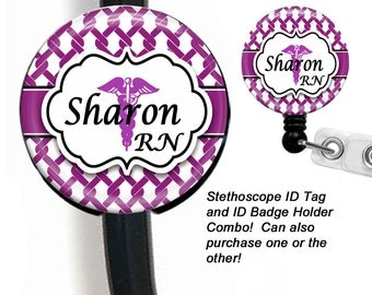 Stethoscope ID Tag And ID Card Holder, Retractable Badge Holder, ID Badge Reel Combo
