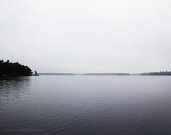 Large Minimalist Art, Black and White, Photography, Moody Landscape Photograph, Nature, Squam Lake, New Hampshire, Water, Natural, Woods