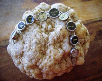 Antique Typewriter Key Bracelet with Floating Shift Key