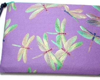 Padded Zipper Cosmetic Pouch in Lilac Shimmer Dragonfly Print