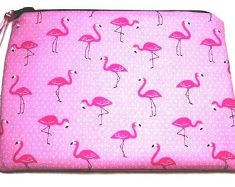 Padded Zipper Cosmetic Pouch in Mini Pink Flamingo Print