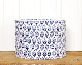 Blue Medallion Drum Shade - Blue Lampshade - Cottage Decor - Modern Chic - Indigo and White - Beach Home - Table Lamp Shade - Love it!