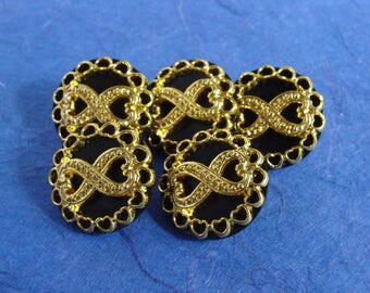Set of 5 Black and Gold Colored Shank Buttons - 23mm, 7/8 inch  - Downsizing SALE  Must Go!