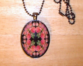 "Pink Roses Kaleidoscope Pendant Necklace 24"" Gunmetal Chain With Glitter"