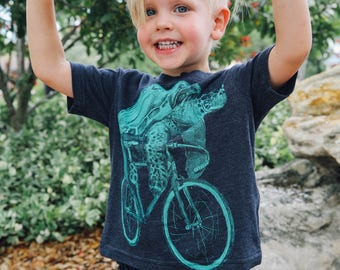 Sea Turtle on a Bicycle- Kids T Shirt, Children Tee, Handmade graphic tee, sizes 2-12