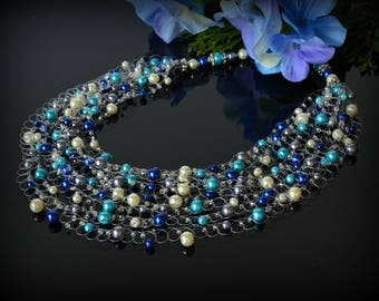 Navy Blue Pearl Necklace Multi strand Statement Necklace for Bride Turquoise necklace Wedding Bridesmaid Beauty Gift Women Ivory Necklace