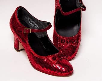 Sequin - 2.5 Inch Heel Red Manhattan Character Shoes Heels for Theatre, Dance and Performance