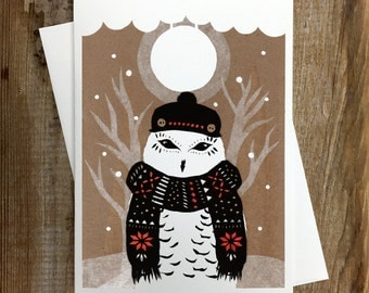 Winter Owl - Greeting Card  Blank Inside Holiday Christmas Solstice Winter Animals