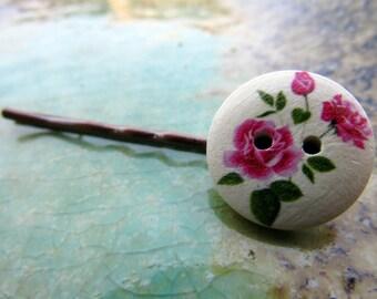 Rose Button Bobby Pin, hair accessory, hair pin, bobbie pin, wood button